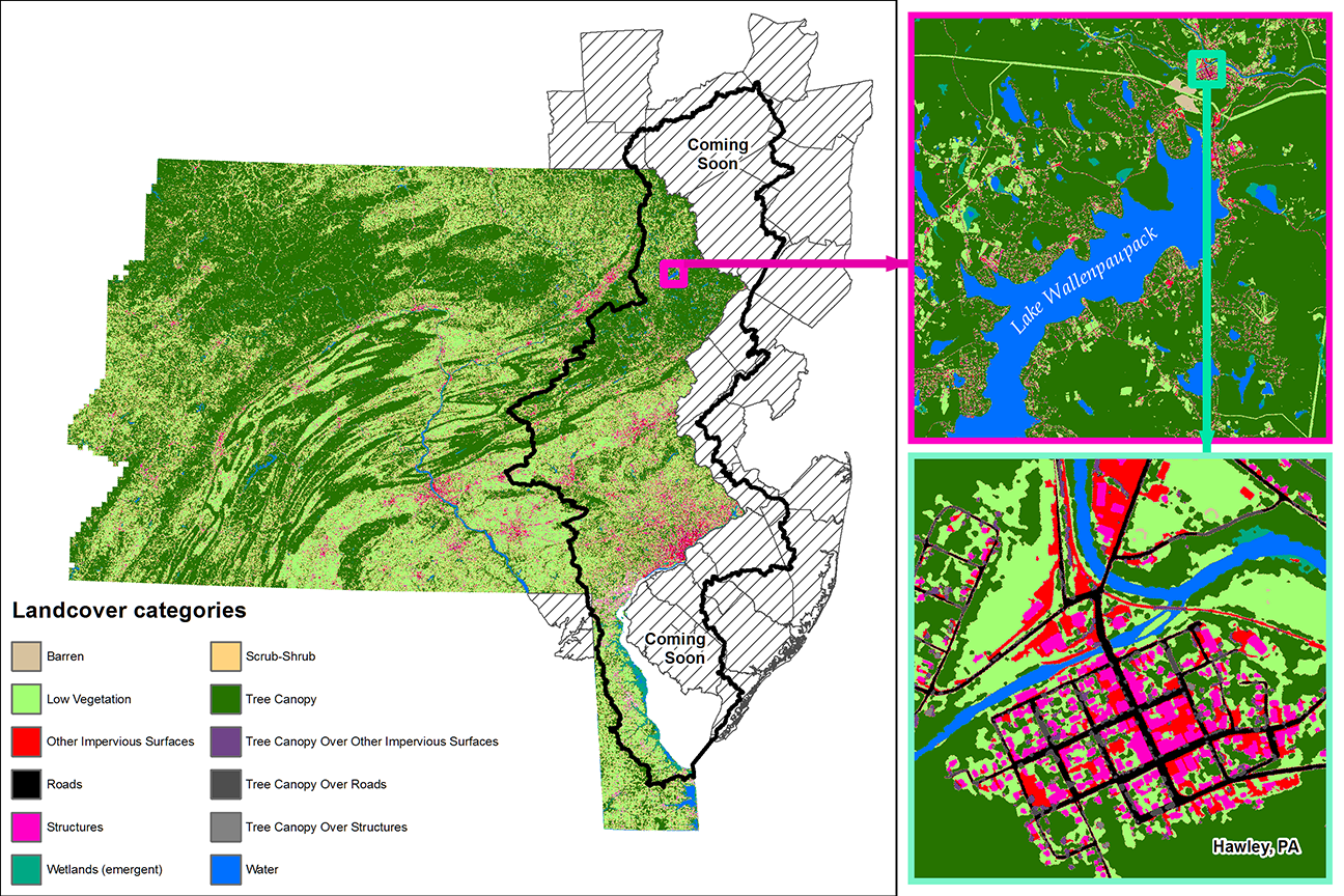 Map Of New York Pennsylvania And New Jersey.Pennsylvania Land Cover Data Now Complete Delaware River Basin